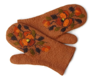 Felted Mittens Merino Wool Copper