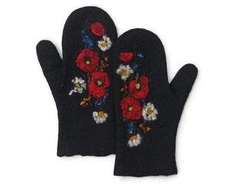 Felted Mittens Merino wool Black Flowers