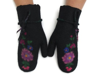 Felted Mittens Black Purple Flowers