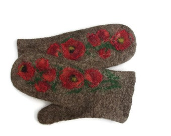 Felted Mittens Merino wool Brown Red