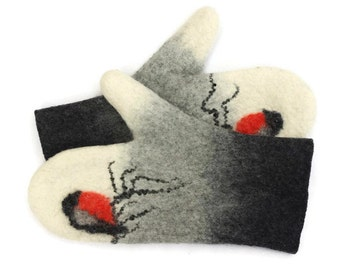 Felted Mittens Merino wool Black Grey White