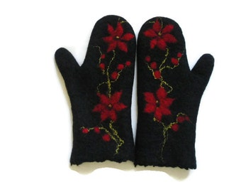 Felted Mittens Black, Red