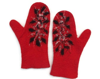 Felted Mittens Bright Red Black Gray