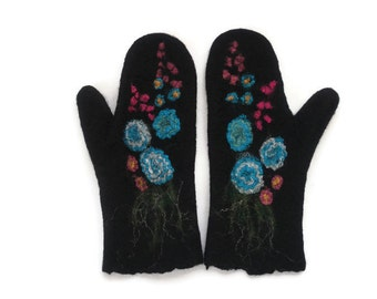 Felted Mittens  Black Blue purple Floral