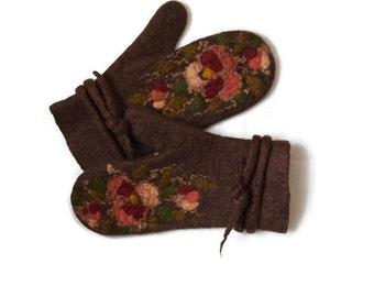 Felted Mittens Brown Pansies