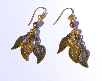 Gold Leaf Pearl Earrings ( E1096)