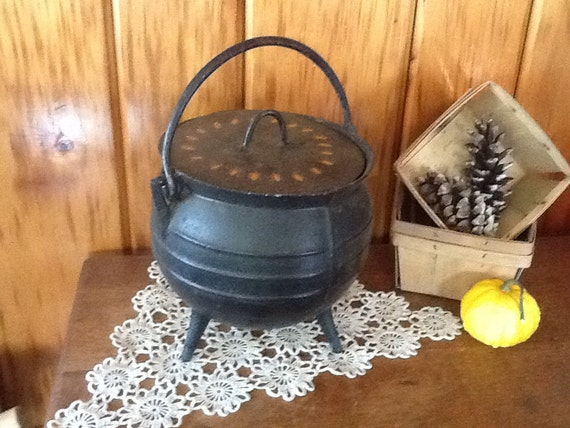 Cast Iron Cauldron Pot Hand Painted Folk Art Primitive 1800's Fireplace Home decor