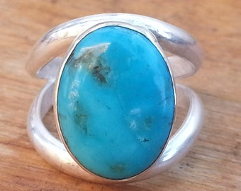 Turquoise Ring Size #6 Sterling Silver Kingman Turquoise
