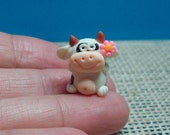 Tiny Handcrafted Polymer Clay Cow