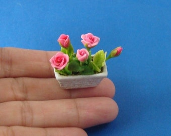 Potted Pink Roses for Dollhouse 12th