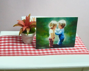 Portrait of Puppy Love - Framework Art Print 12th scale for dollhouses