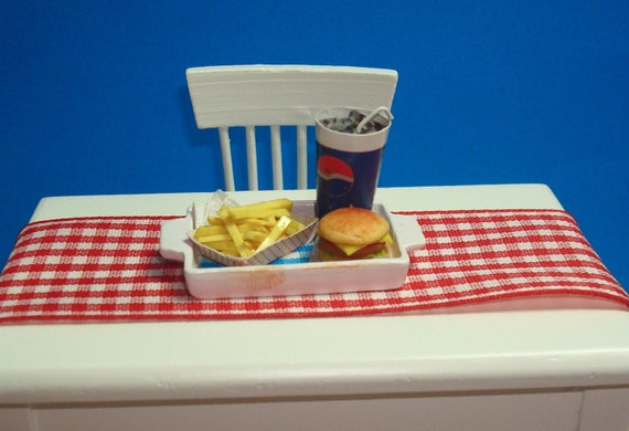 A Tray of Fast Food - Burger, French Fries, and a Cup of Pepsi with Ice Cubes  for Dollhouse 12th Scale