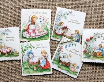 Vintage baby gift tags unused,  ONE package of 6