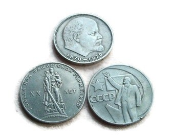 Set of 3 USSR - Soviet Russian metal coins - ruble