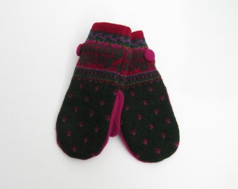Wool Mittens Fleece Lined Hunter Green Orchid and Fuchsia Pink Fair Isle Felted Wool Sweater Mittens