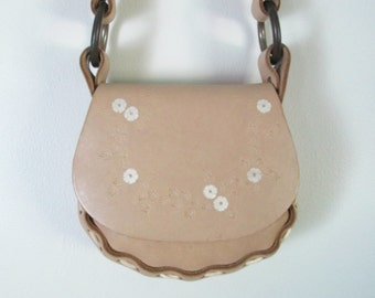 Small Hand Tooled Leather Bag // Light Tan Shoulder Handbag
