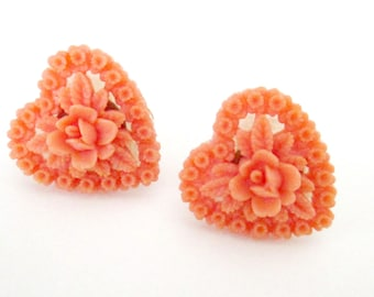 1940s Carved Heart Earrings // Coral Celluloid Pierced Posts