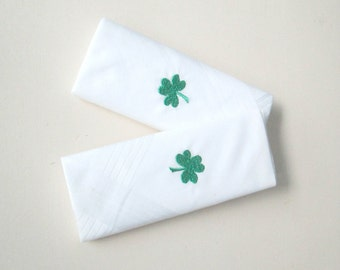 Embroidered Shamrock Cotton Handkerchiefs Made in Ireland New In Box Vintage