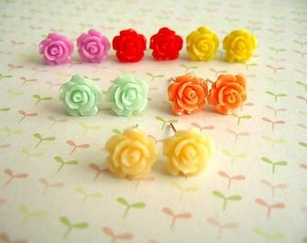 Rose Resin Earrings, Resin Cabochons, Cabochons Earrings, Flower Earrings, Rose Earrings, 10mm - Two Pairs