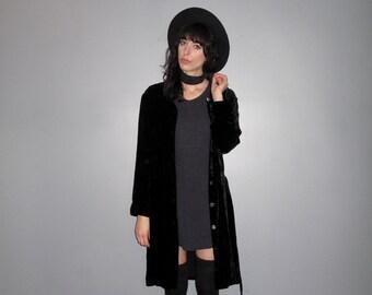 Black Velvet Cardigan Dress - Silk Blend 90s Minimal Goth Shirt Dress VTG - Size M/L