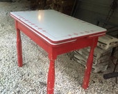 Vintage 1940 Red and White Enamel Top Kitchen Table
