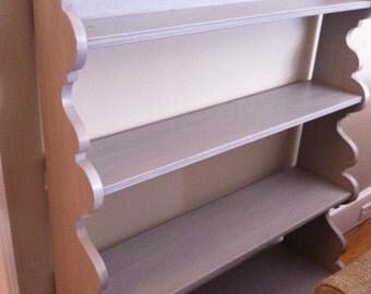 Cottage Grey Shelf Bookcase Scalloped edges