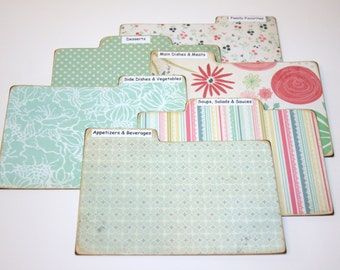 Recipe Divider Tabs, Set of 6, Mint and Coral Recipe Divider Cards, Floral Recipe Cards, 4x6 Recipe Divider Cards
