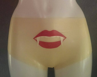 Translucent Latex Knickers, Vampire Lips Latex Panties