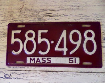Vintage License Plate - Massachusets 1951