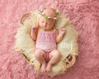 newborn floral halo, pink and white