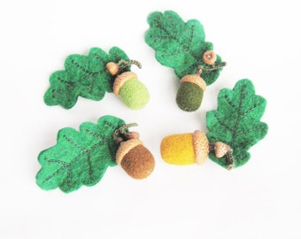 Christmas gift for Granny Green acorn brooch Oak leaf Needle felted acorns Woodland jewelryWinter hat accessory Woolen jewelry