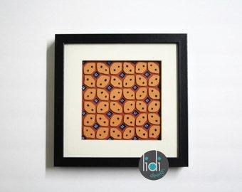 Batik Inspired Hand Craft Paper Frame - Tan Kawung Pattern
