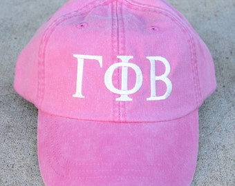 Gamma Phi Beta baseball cap with embroidered greek letters