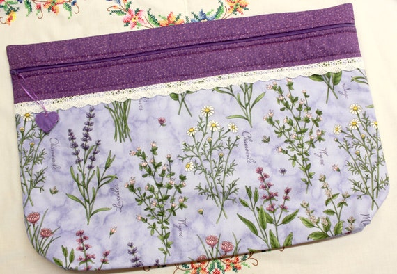 LOTS2LUV Purple Thyme With Friends  Cross Stitch Embroidery Project Bag