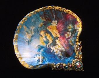 Fairies Shell Jewelry Dish Trinket Dish Ring Dish Shell Art