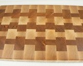 End Grain Cheese Board, End Grain Cutting Board, Cherry and Walnut Cutting Board and Serving Board