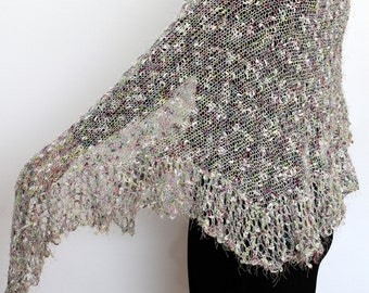 Spring Scarf Rustic knitted colorful  Wrap  Shawl  wedding accessory
