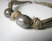 Ceramic peanuts - linen necklace