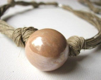 Ceramic toffee - linen necklace