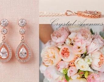 Rose Gold Bridal Earrings, Crystal Wedding Jewelry, Gold Bridal Jewelry, Swarvski, Misty Bridal Earrings