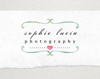 Premade Logo // Logo Design // Business Logo //  Photography Logo // Watercolor Border and Heart Logo