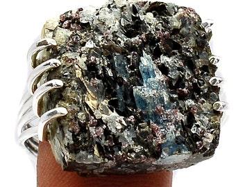 WOW Matrix. Kyanite, Garnet & Biotite Mineral Specimen, Ring Size 10