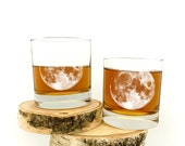 Whiskey Glasses - Full Moon - Screen Printed Rock Glasses - Set of Two Small Tumblers