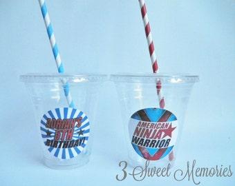 Set of 24- American Ninja Warrior Party Cups, Lids & Straws