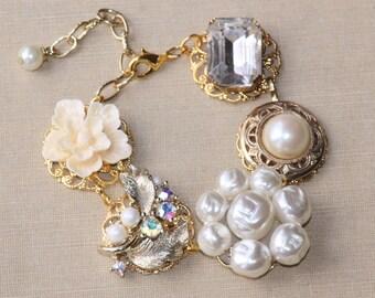GENUINE Vintage Gold,Pearl & Rhinestone Earring Bracelet,Vintage Upcycled Repurposed Jewelry,Cluster Earring Bracelet,Bridal,Weddings