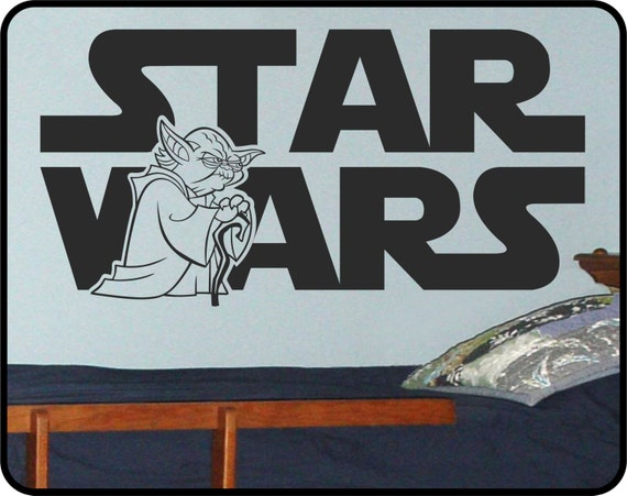 "Star Wars wall decal with Yoda - Star Wars art removable vinyl sticker  44"" x 23"""