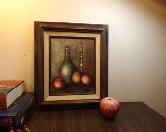 Stun R, 20s century,Delightful Vintage original Oil Painting board.Still life.Wooden brown frame.Signed Stun.R.Gift for him.Gift for her