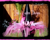 Hot Pink and Black Witch Hat for Girls, Teens, or Adult Women for Costume, Dress-up, Pageants, Halloween, Breast Cancer Awareness Events