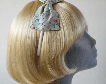 Blue Headband- Aqua Blue Floral Bow Headband