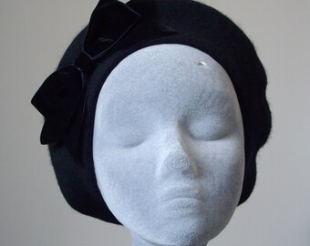 Black Hat- Black Beret Hat with Black Velvet Ribbon Bow